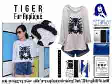 Tiger Fur Applique - ecer@54 - seri3pcs 144rb - bhn kaos misti + aplikasi bulu - fit to XL