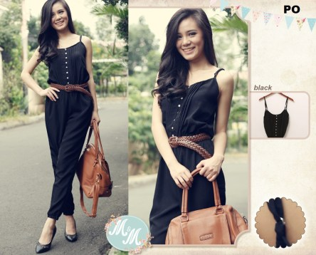 Black Jumpsuit - ecer@67rb - seri4pcs 252rb - rayon - fit to L redi