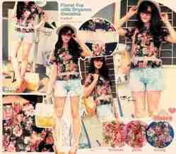 Floral Organza Top - ecer@59rb - seri4w 216rb - bhn cotton stretch kombi organza , blkg zipper - fit L