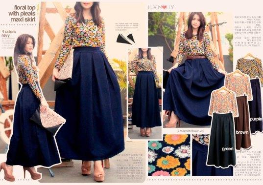 Floral Top with Pleats Maxi Skirt (atasan+rok) - ecer@93rb - seri4w 352rb - bhn atasan rajut + rok serena - fit to L