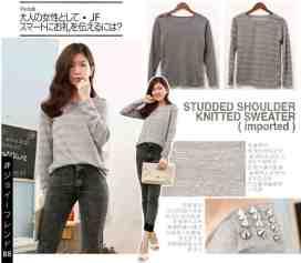 [IMPORT] Studded Shoulder Sweater - ecer@82rb - seri4pcs 308rb - bahan soft knit - fit to L