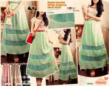Pastel Double Organza Maxi Skirt - ecer@74rb - seri4w 276rb - bhn twistcone combi organza -ada karet - fit to L