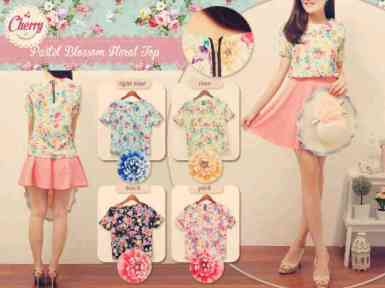 Pastel Floral Top - ecer@54rb - seri4w 200rb- twistcone import - fit to L