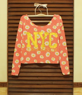 Tangerine NYC Floral Crop Top - ecer@54 - seri4w 192rb - bhn Spandex licin + print foil - fit to L