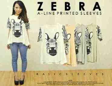 Zebra Sleeve Tee - ecer@53rb - seri4w 192rb - spandex - Fit to L