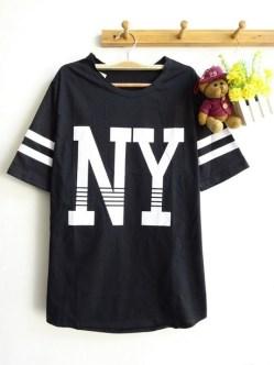 NY Baseball Tee (Black) - ecer@42rb - seri4pcs 148rb bahan Kaos - fit to XL