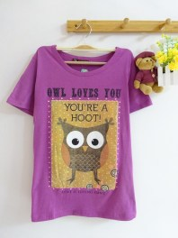 Owl Loves You Tee (purple) - ecer@45rb - seri4w 160rb - spandex - fit to L