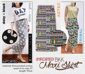 Ready! BKK Maxi Skirt - ecer@104rb - seri4motif 396rb - printed katun stretch tebal - fit to size 29