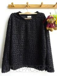 [IMPORT] Elegant Fur Sweater (black) - ecer@85rb - seri4w 320rb -rajut benang kilau - fit L besar