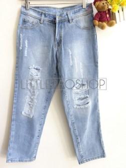 Ripped Baggy Pants (medium) - ecer@89rb - jeans tebal - uk L
