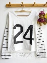 24 Baseball Crop Longsleeve (white) - ecer@50rb - seri4w 180rb - kaos - fit to L besar