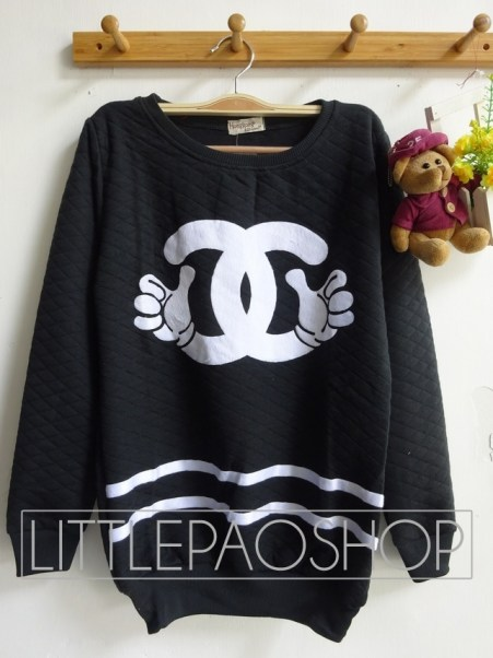 Mickey Chanel Pillow Sweater (black) - ecer@65rb - seri3w 180rb - wedges pillow - fit to XL