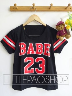 Triple Line BABE Baseball Tee (black)- ecer@46rb - seri4pcs(2warna) 164rb - kaos - fit to L