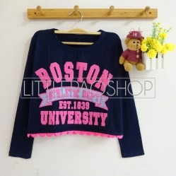 Boston University Athlete Scallop Top (navy) - ecer@55rb - seri4w 200rb - spandex + tulisan emboss - fit to L