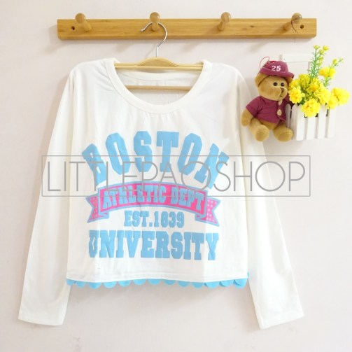 Boston University Athlete Scallop Top (white) - ecer@55rb - seri4w 200rb - spandex + tulisan emboss - fit to L