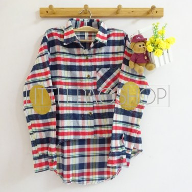 HiLo Patch Flannel Shirt (white) - ecer@80rb - flanel - fit to L