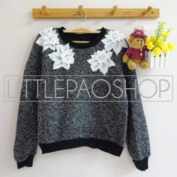 IMPORT - Neck Floral Lacey Sweater (black) - ecer80rb - seri3w 225rb - renda+wool - fit to L