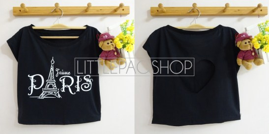 IMPORT - Paris Love Cut Crop Top (black) - ecer@70rb - seri3w 195rb - kaos - fit to L