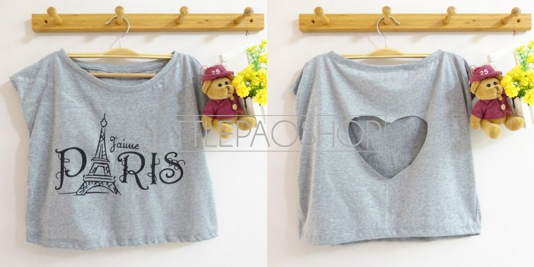 IMPORT - Paris Love Cut Crop Top (grey) - ecer@70rb - seri3w 195rb - kaos - fit to L