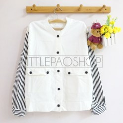 IMPORT - Plus Button Jacket(white) - ecer@92rb - seri4pcs(2white2black) 348rb - jeans tebal - fit to L