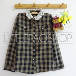 Lazy Collar Plaid Shirt (black) - ecer@70rb - seri4w 260rb - katun bangkok - fit to L