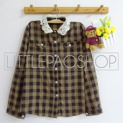 Lazy Collar Plaid Shirt (brown) - ecer@70rb - seri4w 260rb - katun bangkok - fit to L