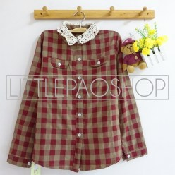 Lazy Collar Plaid Shirt (red) - ecer@70rb - seri4w 260rb - katun bangkok - fit to L