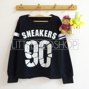 Ninenty Sneaker Sweater (black) - ecer@66rb - seri4pcs(2black2white) 244rb - babyterry - fit to L