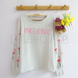 Pink Flamingo Sweatshirt (khaky) - ecer@66rb - babyterry - fit to L