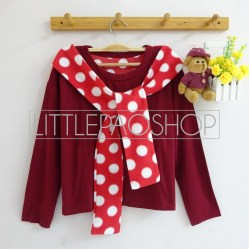 Polka Shawl LongSleeve Top (red) - ecer@55rb - seri4w 200rb - spandex + beludru - fit to L