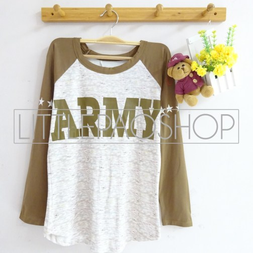 ARMY Raglan Tee (brown) - ecer@58rb - seri4w 212rb - wedges tekstur+spandex - fit to L
