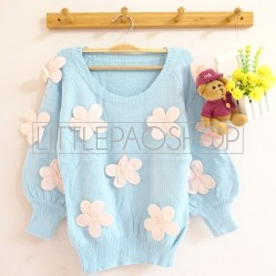 [IMPORT] 3D Flowers Knit Sweater (blue) - ecer@110rb - seri5w 525rb - rajut tebal - fit to L