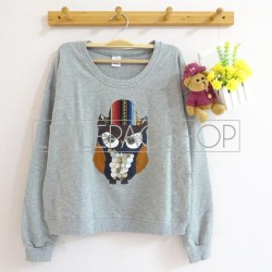[IMPORT] Gypsy Owl Sweater (Grey) - ecer@85rb - seri4pcs(2white2grey) 320rb - babyterry - fit to L