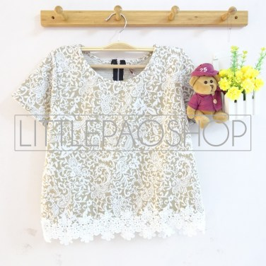 IMPORT - Sekar Lacey Top (cream) - ecer@70rb - seri6w 390rb - wedges velvet tesktur + renda - fit to L