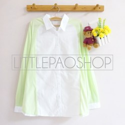Juliette Pastel Loose Shirt (green) - ecer@75rb - seri6w 420rb - cotton+knit halus - fit to L