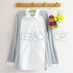 Juliette Pastel Loose Shirt (grey) - ecer@75rb - seri6w 420rb - cotton+knit halus - fit to L