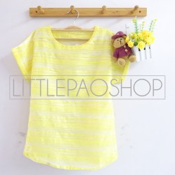 Stripes Organdy Top (yellow) - ecer@62rb - seri4w 228rb - organza+furing - fit to L besar