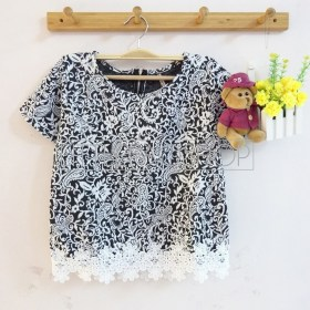 IMPORT - Sekar Lacey Top (black) - ecer@65rb - seri4w 240rb - wedges velvet tesktur + renda - fit to L