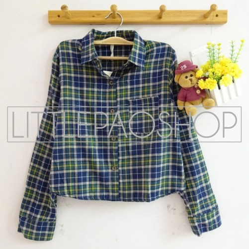 Luna Crop Flanel Shirt (green) - ecer@85rb - seri3w 240rb - flanel - fit to L