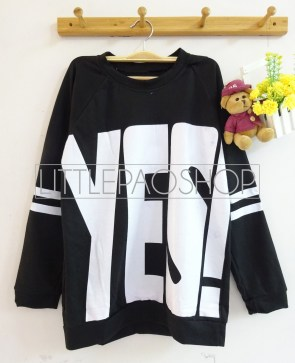 YES! Sweater (black) - ecer@57rb - seri4pcs(2pink2black) 208rb - babyterry - fit to L besar