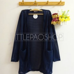 Alexa Pocket Cardi (navy) - ecer@75rb - seri3w 210rb - salur kaca - fit to L