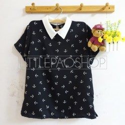 Anchor Path Collar Top (black) - ecer@65rb - seri4w 240rb - satin - fit to L