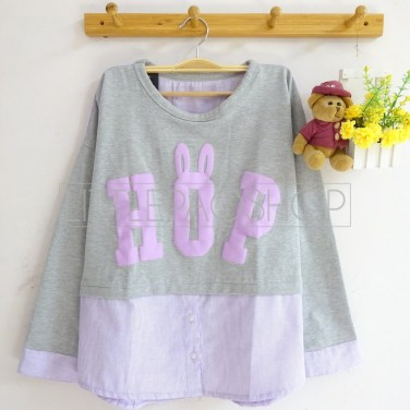 Bun HOP Top (grey) - ecer@68rb - seri4w 232rb - babyterry-katun+sablon timbul - fit to L