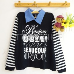 Dictionnaire Français Collar Top (black) - ecer@70rb - seri4pcs(2black2white) - spandex+denim+sablon emboss - fit to L