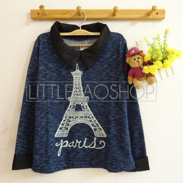 Eiffel Knit Collar Top (navy) - ecer@75rb - seri3w 210rb - rajut(termasuk gambar) - fit to L