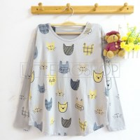 Meow Face Pattern Top (grey) - ecer@57rb - seri4w 208rb - spandex - fit to L