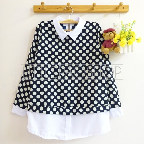 Polka Collar Top (navy) - ecer@70rb - seri3w 195rb - twistcone - fit to L
