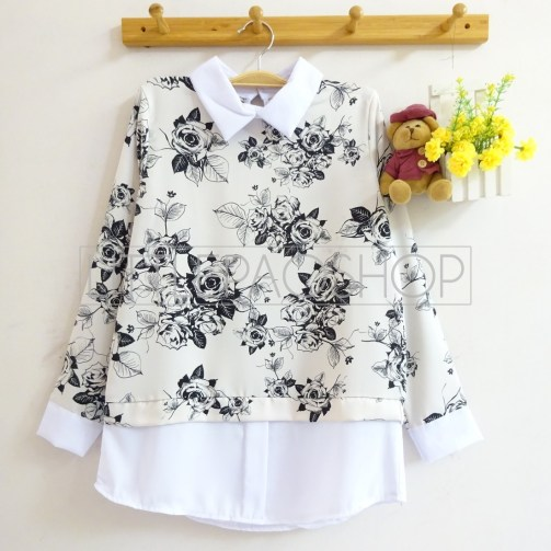 Rose Pattern Collar Top (white) - ecer@70rb - seri4pcs(2black2white) 260rb - twistcone - fit to L