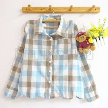 Scallop Plaid Shirt (baby blue) - ecer@70rb - seri3w 195rb - katun bangkok - fit to L
