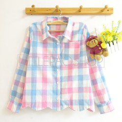 Scallop Plaid Shirt (pink) - ecer@70rb - seri3w 195rb - katun bangkok - fit to L